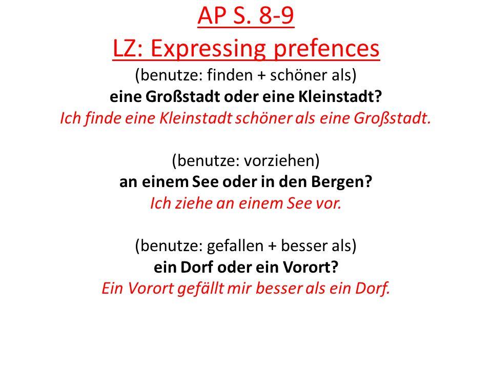 AP S. 8-9 LZ: Expressing prefences