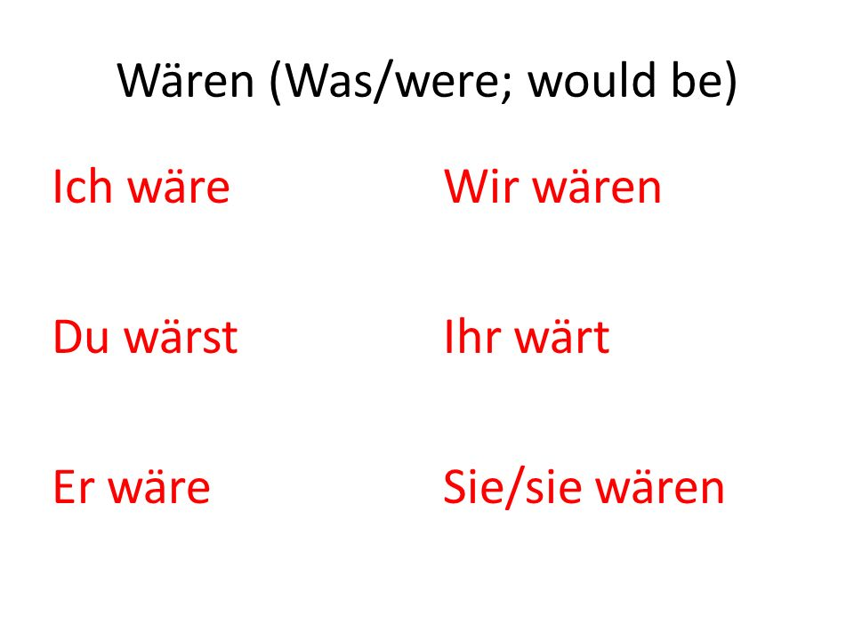 Wären (Was/were; would be)