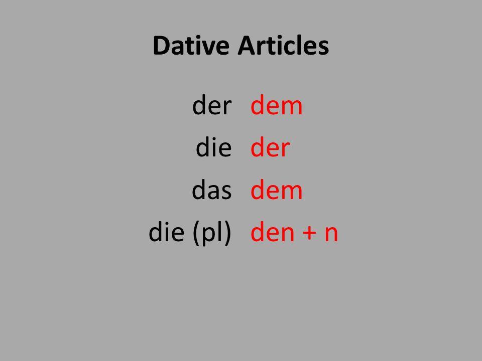 Dative Articles der die das die (pl) dem der den + n
