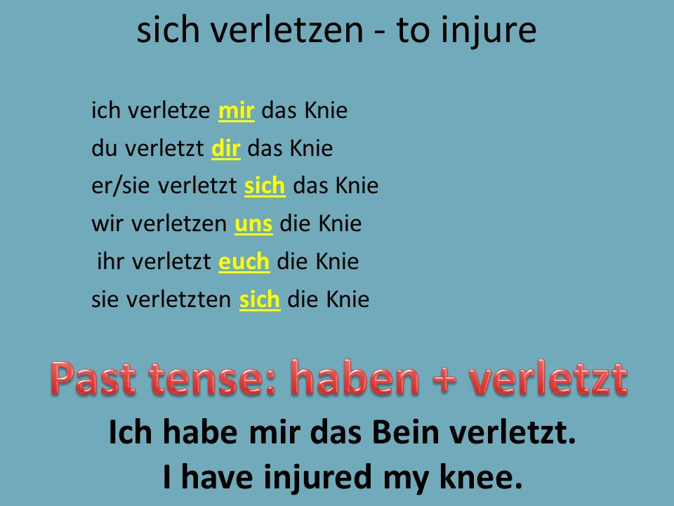 sich verletzen - to injure