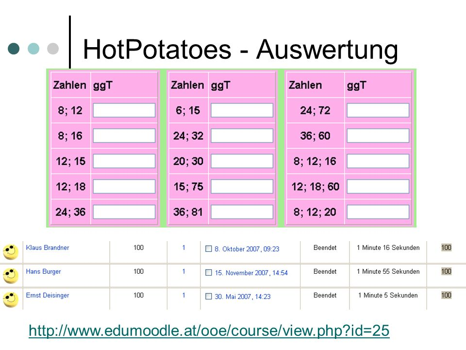 HotPotatoes - Auswertung