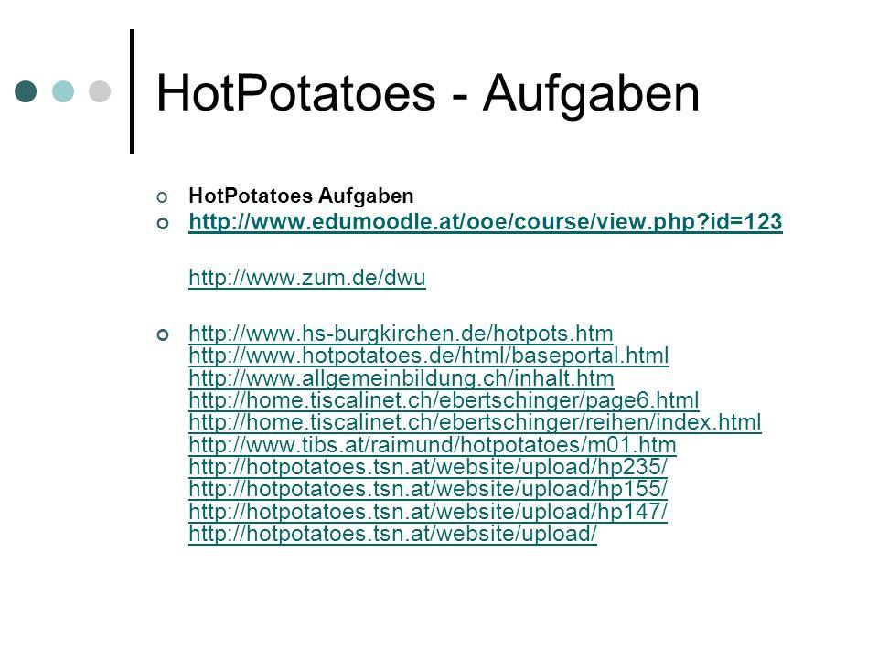 HotPotatoes - Aufgaben