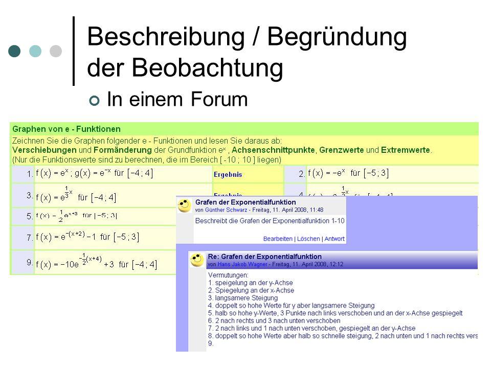 Beschreibung / Begründung der Beobachtung