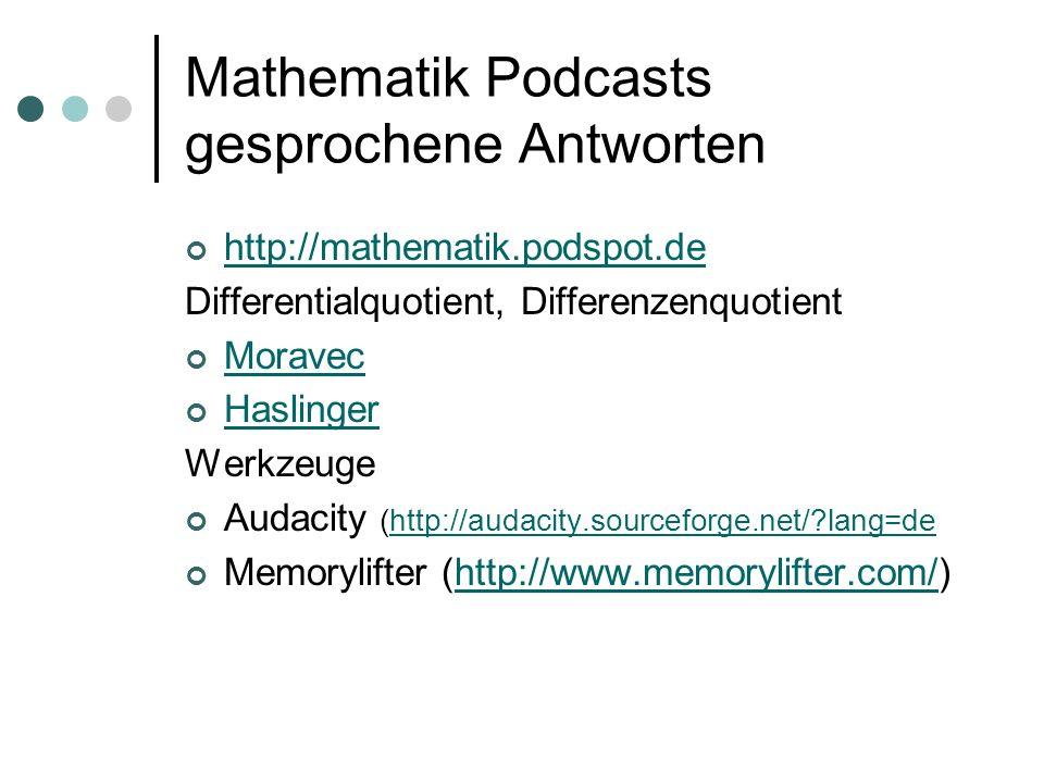 Mathematik Podcasts gesprochene Antworten