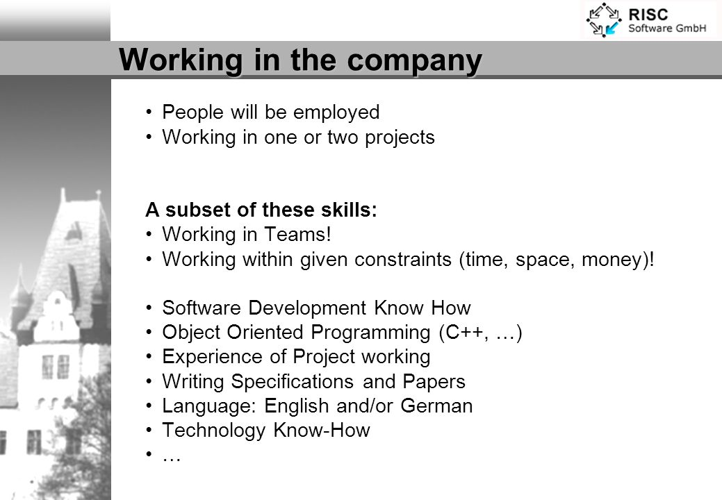 Working in the company People will be employed