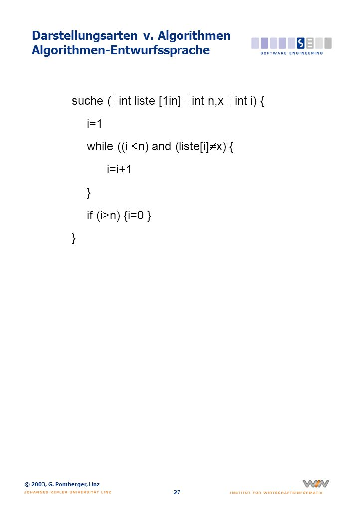 Darstellungsarten v. Algorithmen Programmiersprache