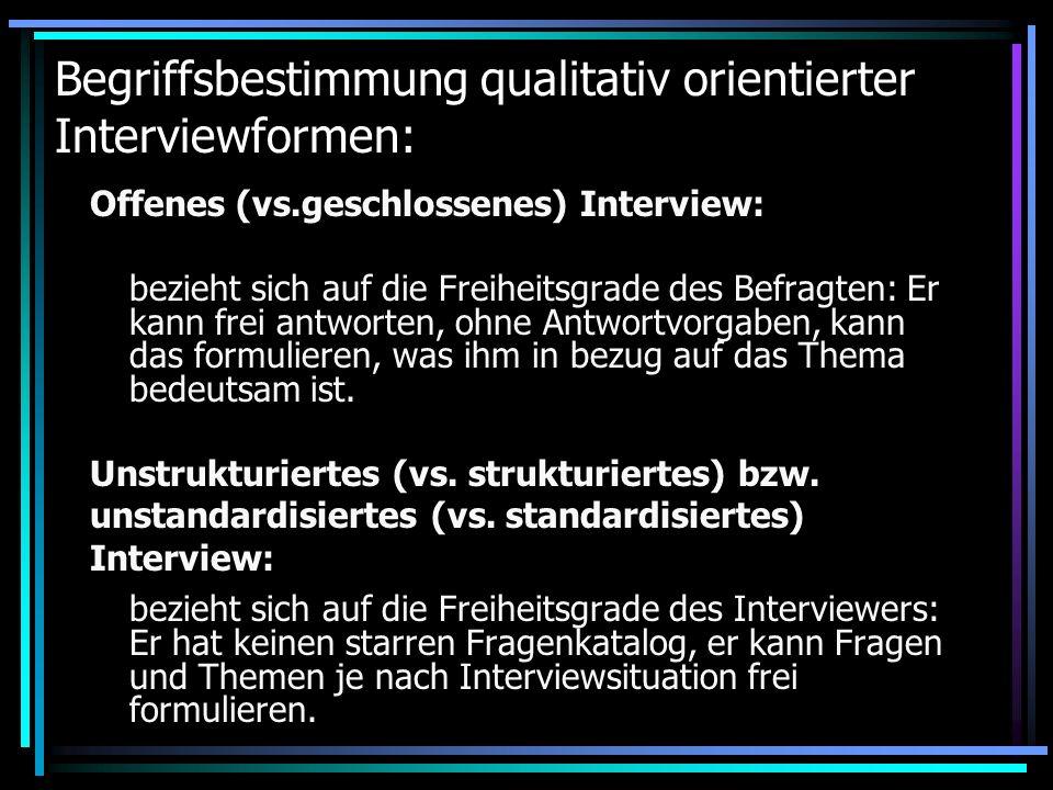 Begriffsbestimmung qualitativ orientierter Interviewformen: