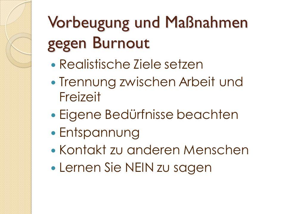 Vorbeugung und Maßnahmen gegen Burnout