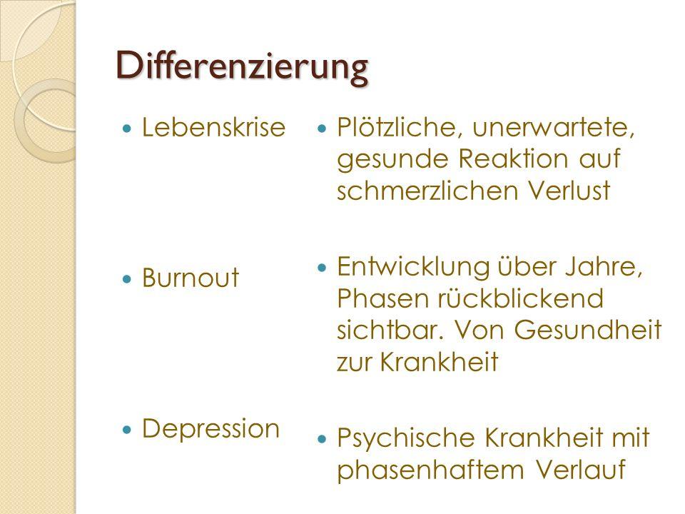 Differenzierung Lebenskrise Burnout Depression