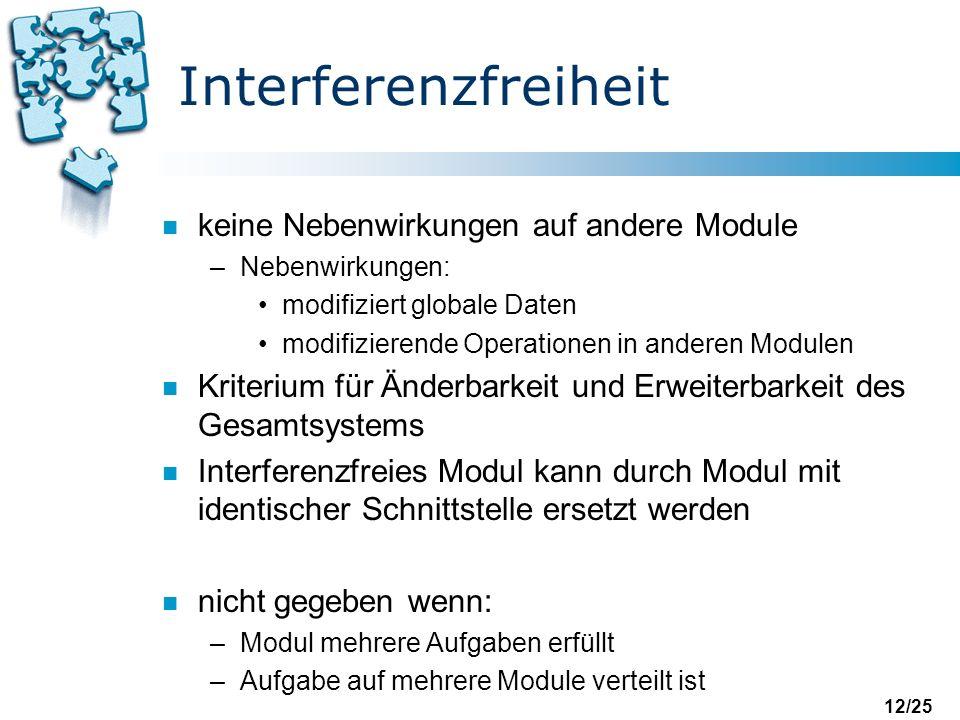 Interferenzfreiheit keine Nebenwirkungen auf andere Module