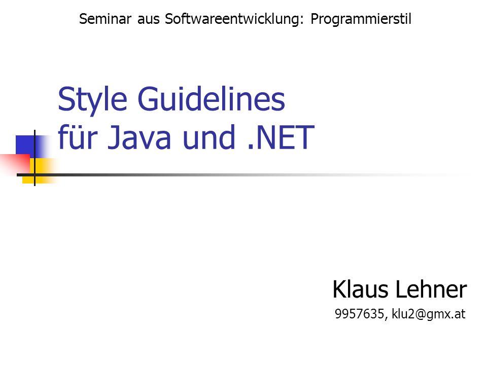 Style Guidelines für Java und .NET