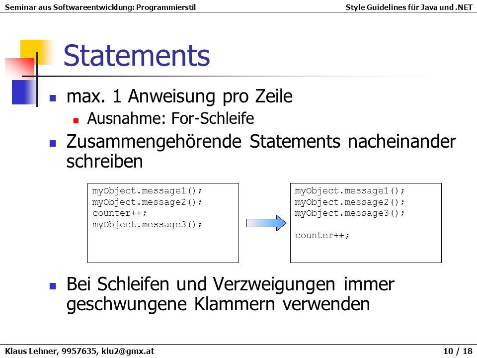Statements max. 1 Anweisung pro Zeile