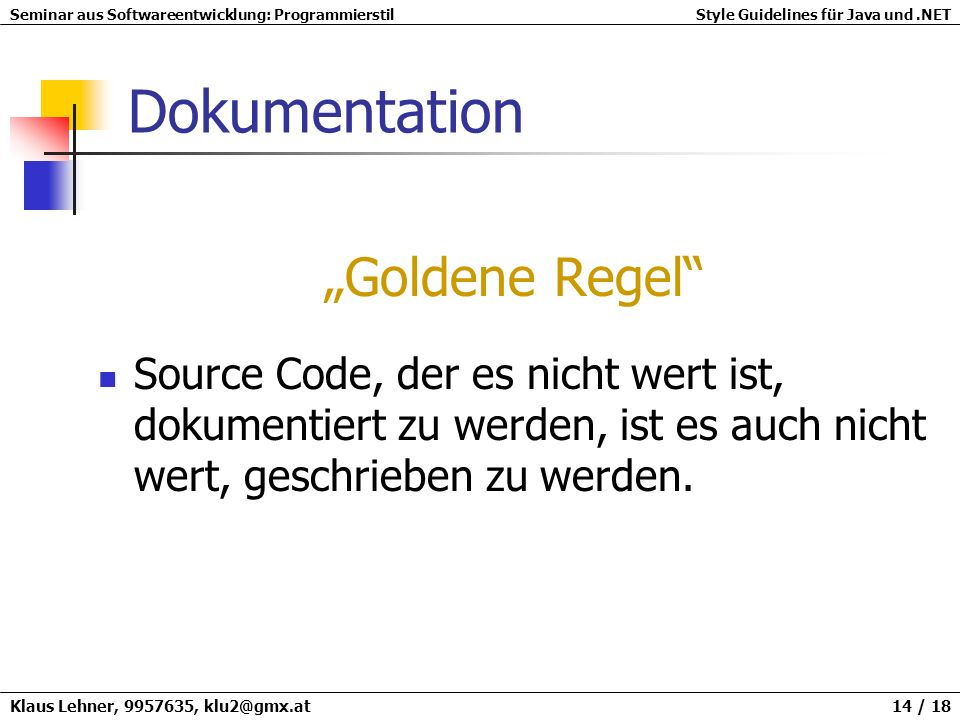 "Dokumentation ""Goldene Regel"