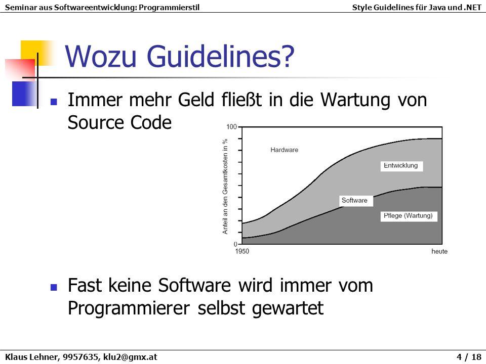 Wozu Guidelines Immer mehr Geld fließt in die Wartung von Source Code