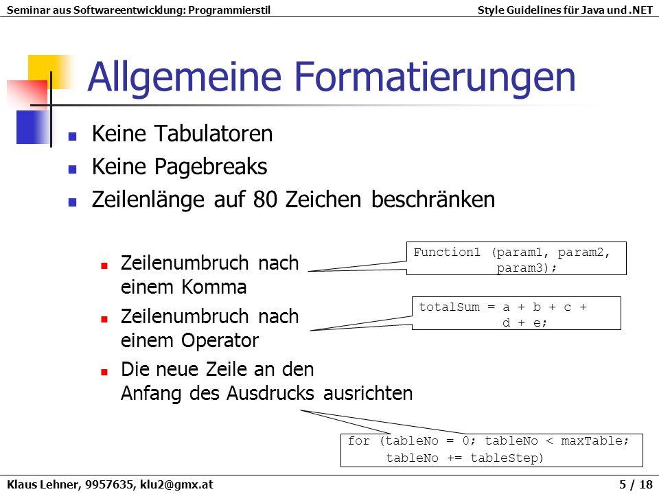 Allgemeine Formatierungen