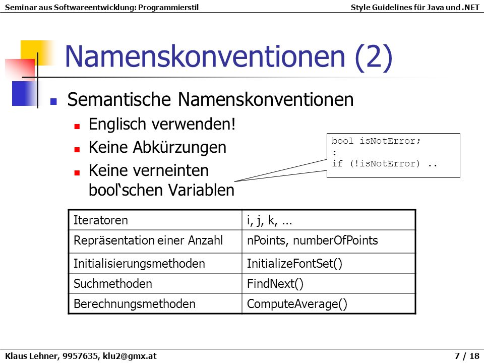 Namenskonventionen (2)