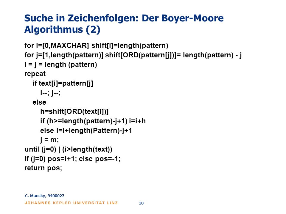 Suche in Zeichenfolgen: Der Boyer-Moore Algorithmus (2)