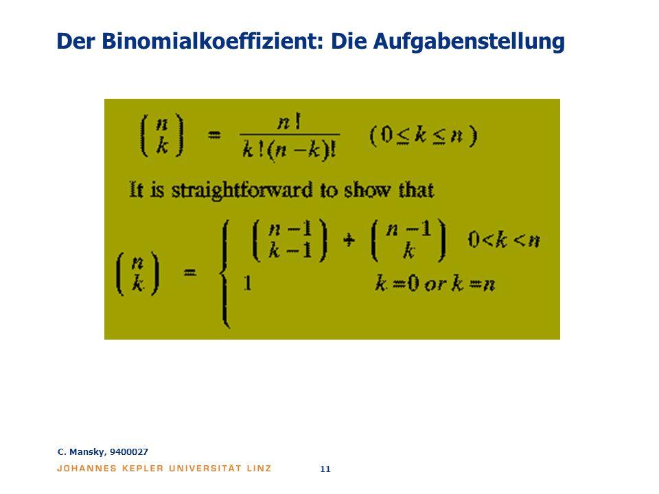 Der Binomialkoeffizient: Die Aufgabenstellung