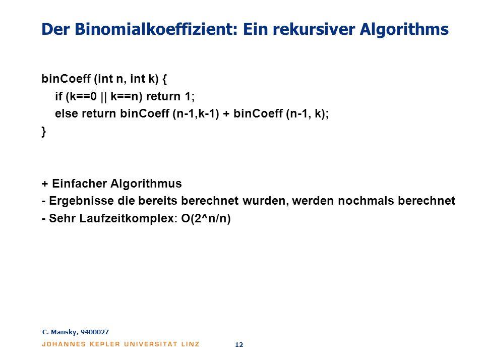 Der Binomialkoeffizient: Ein rekursiver Algorithms