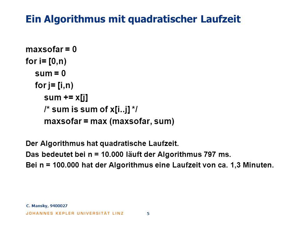 Ein Algorithmus mit quadratischer Laufzeit