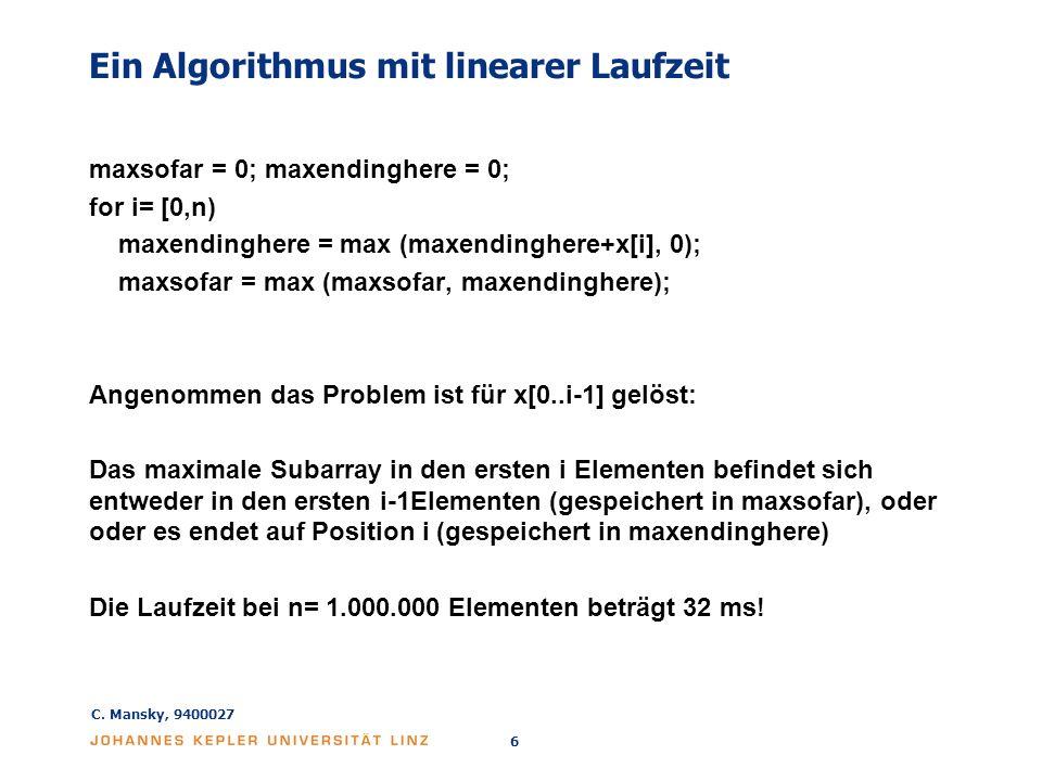 Ein Algorithmus mit linearer Laufzeit