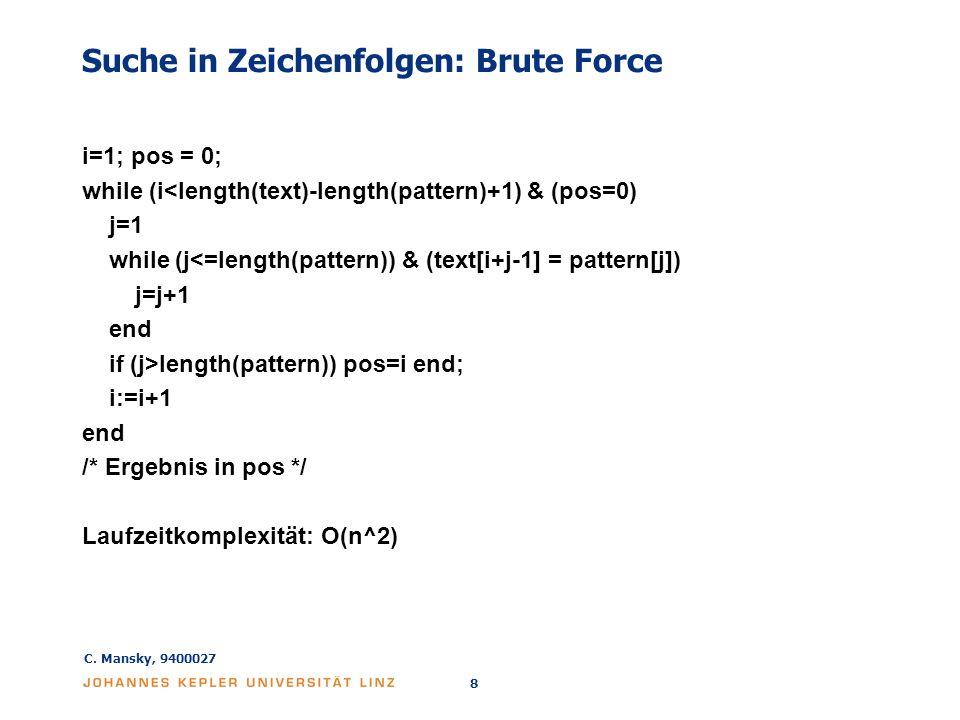 Suche in Zeichenfolgen: Brute Force