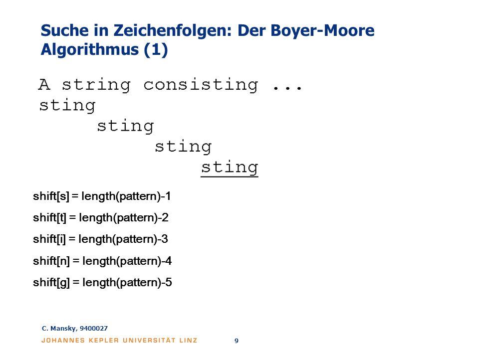 Suche in Zeichenfolgen: Der Boyer-Moore Algorithmus (1)