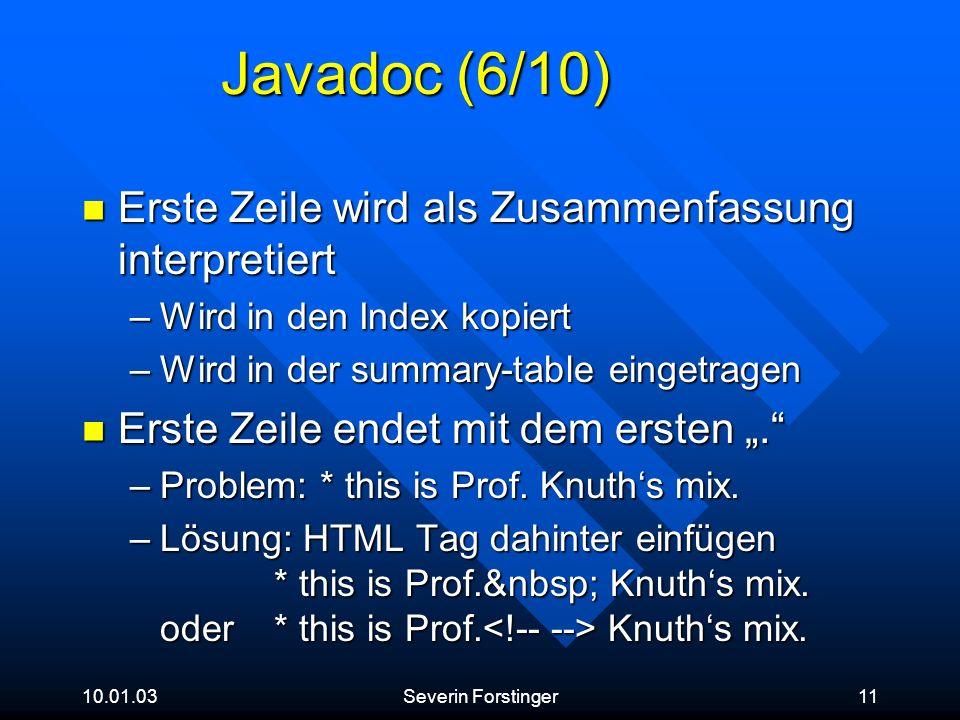 Javadoc (6/10) Erste Zeile wird als Zusammenfassung interpretiert