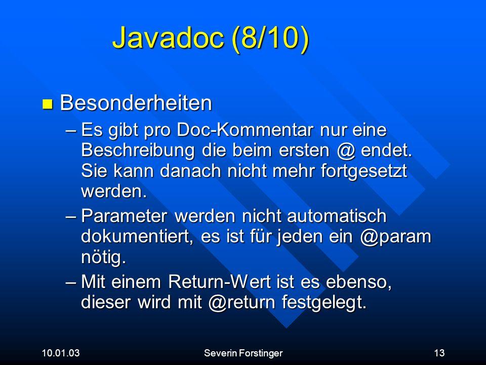 Javadoc (8/10) Besonderheiten