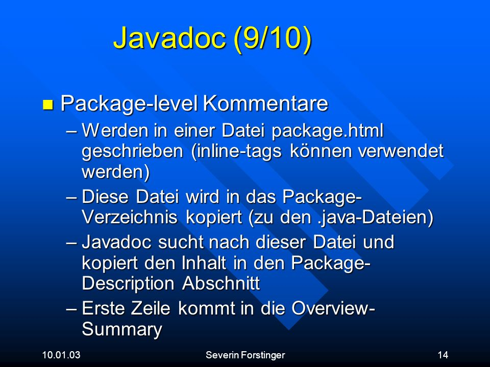 Javadoc (9/10) Package-level Kommentare