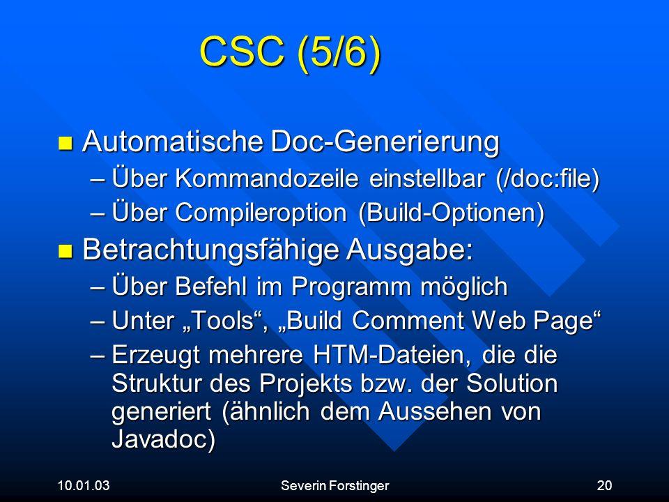 CSC (5/6) Automatische Doc-Generierung Betrachtungsfähige Ausgabe: