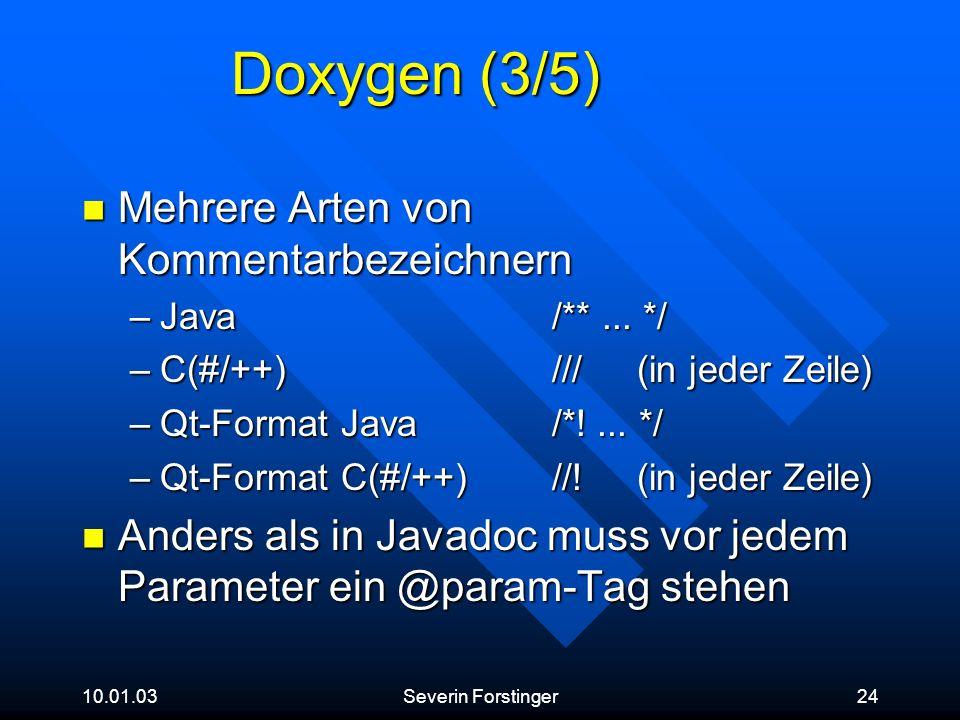Doxygen (3/5) Mehrere Arten von Kommentarbezeichnern
