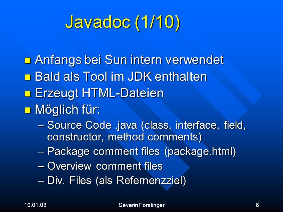 Javadoc (1/10) Anfangs bei Sun intern verwendet