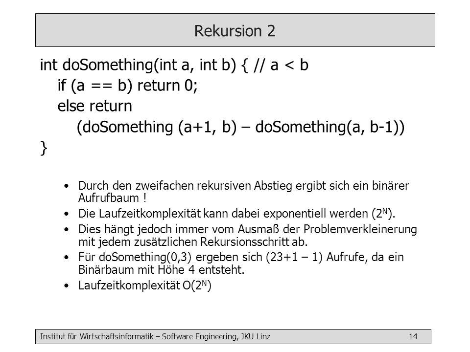 int doSomething(int a, int b) { // a < b if (a == b) return 0;