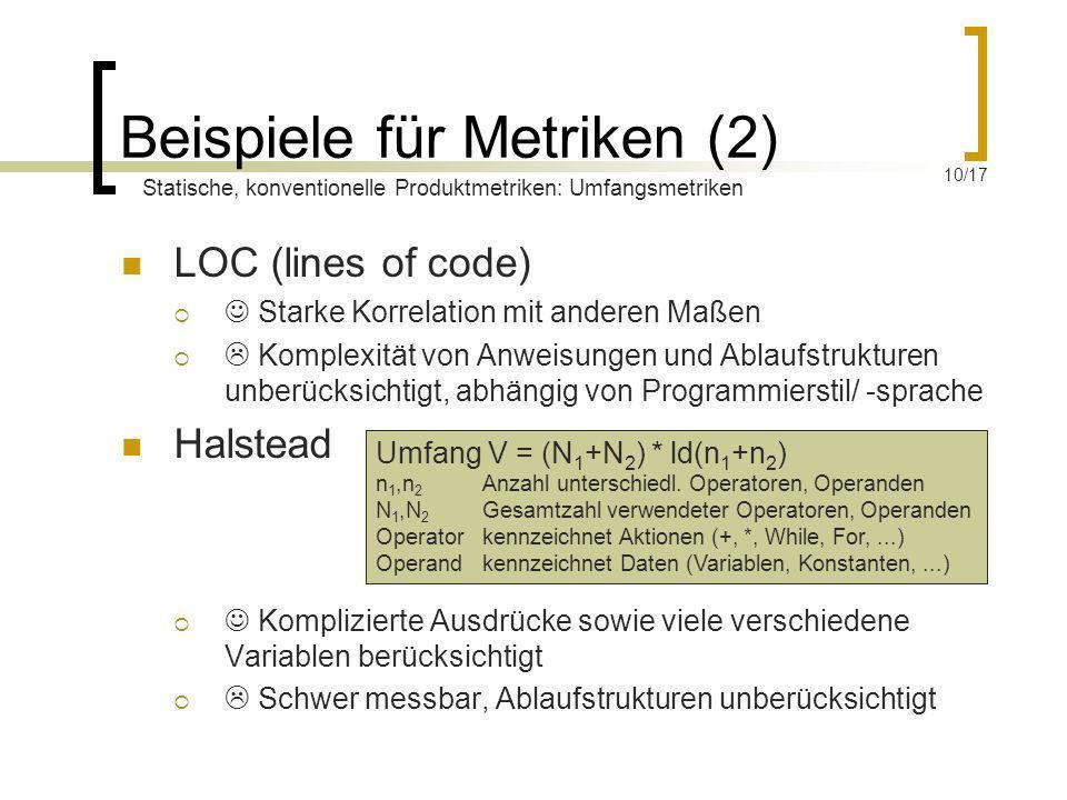 Beispiele für Metriken (2)