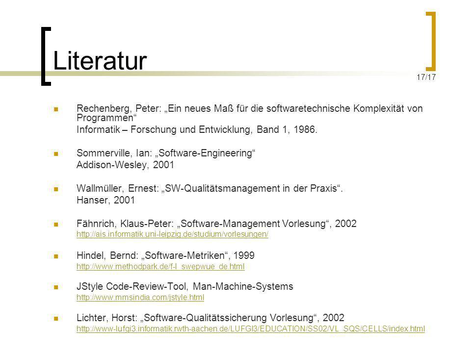 """Literatur 17/17. Rechenberg, Peter: """"Ein neues Maß für die softwaretechnische Komplexität von Programmen"""