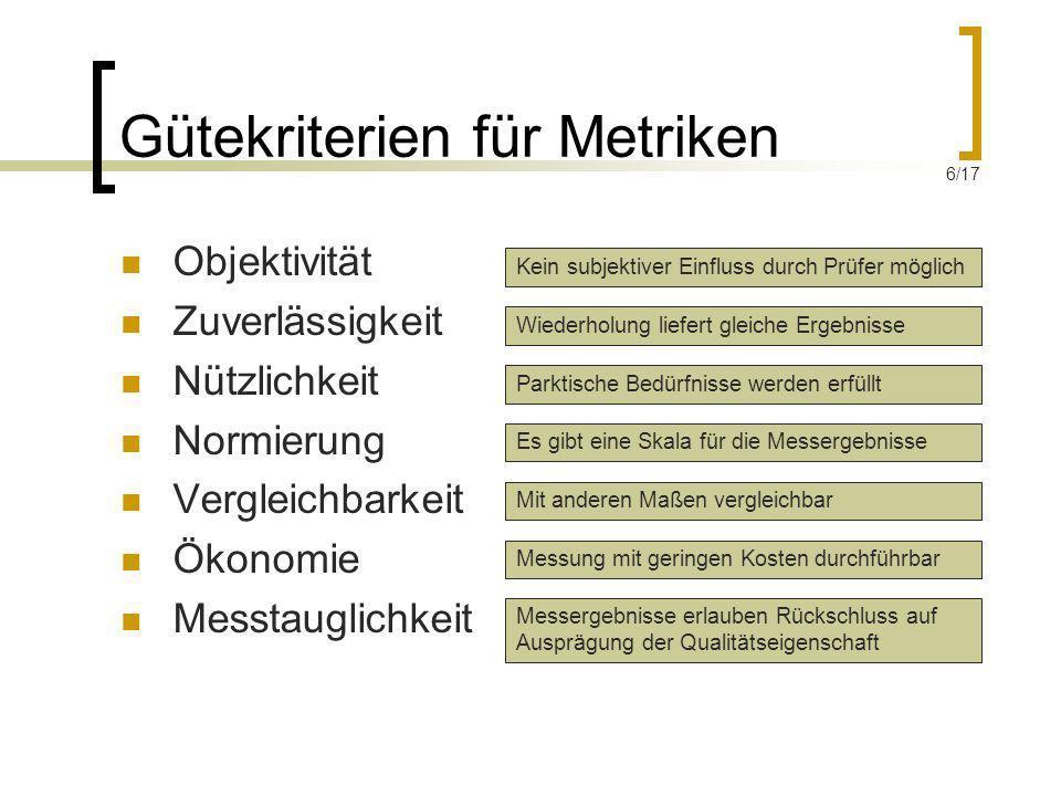 Gütekriterien für Metriken