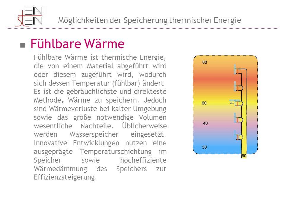 Fühlbare Wärme Möglichkeiten der Speicherung thermischer Energie