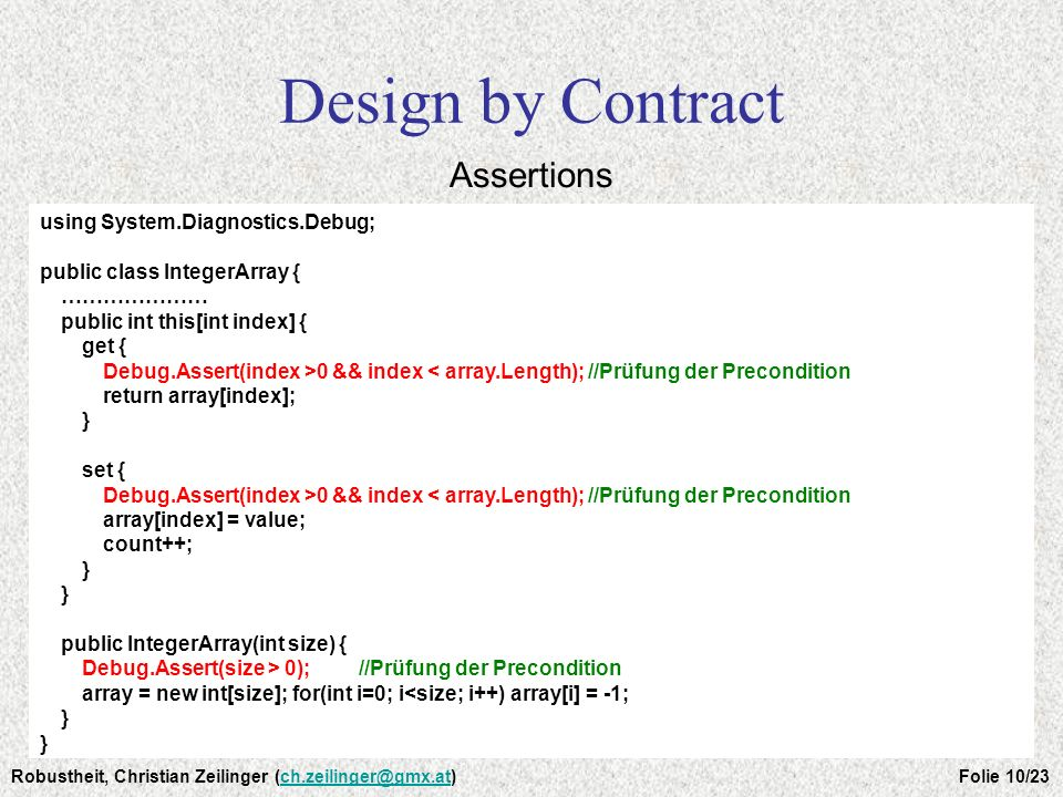 Design by Contract Assertions using System.Diagnostics.Debug;