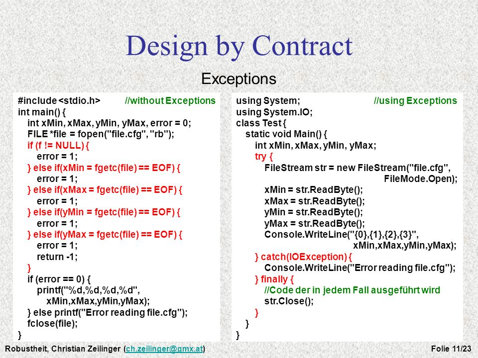Design by Contract Exceptions