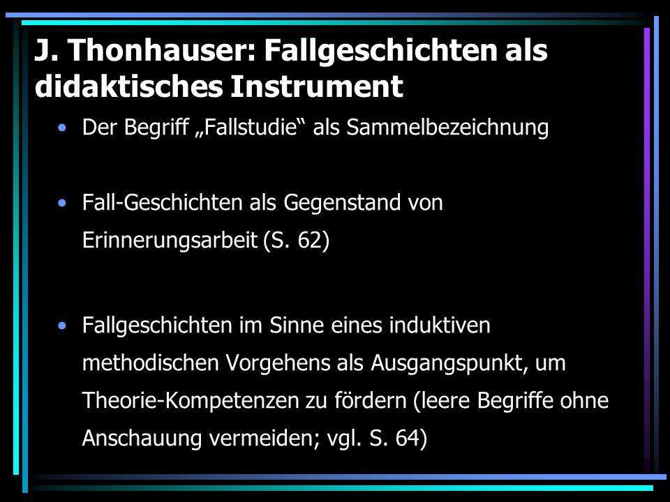 J. Thonhauser: Fallgeschichten als didaktisches Instrument