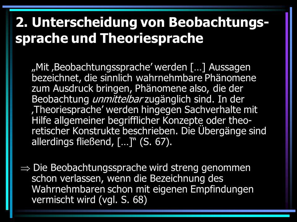 2. Unterscheidung von Beobachtungs-sprache und Theoriesprache