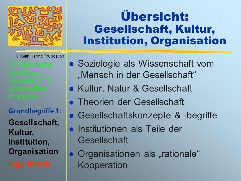 Übersicht: Gesellschaft, Kultur, Institution, Organisation