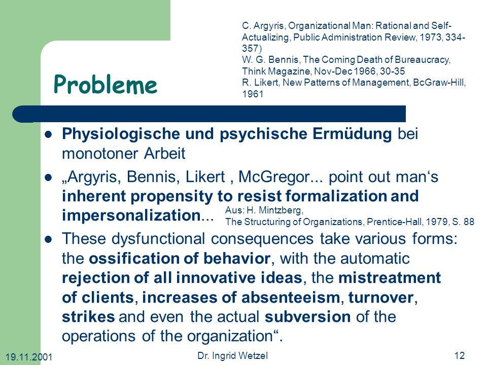 Probleme Physiologische und psychische Ermüdung bei monotoner Arbeit