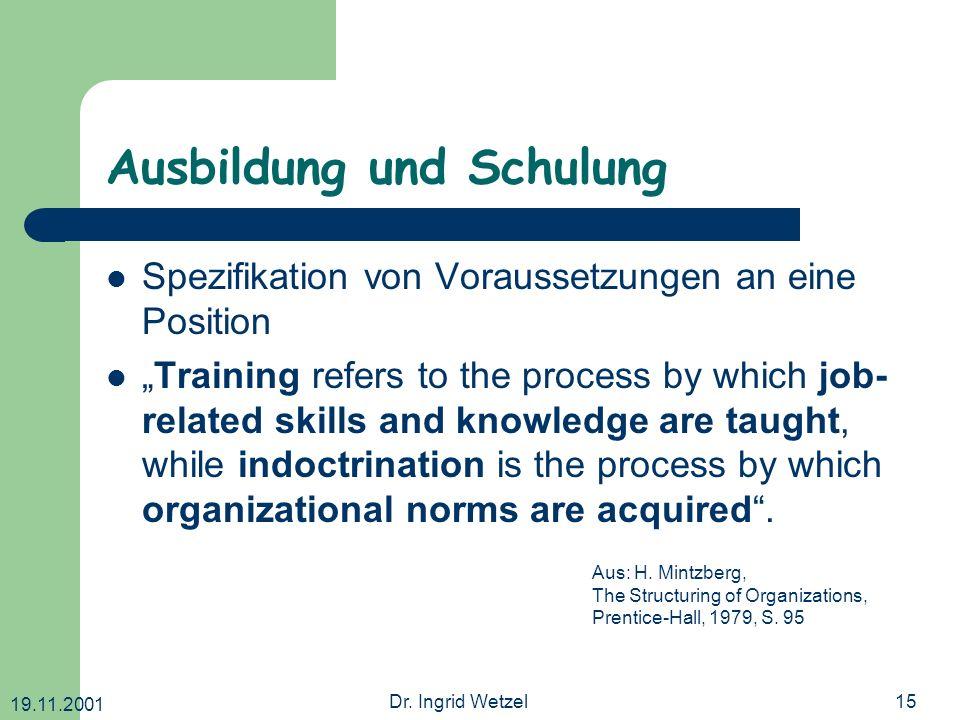 Ausbildung und Schulung