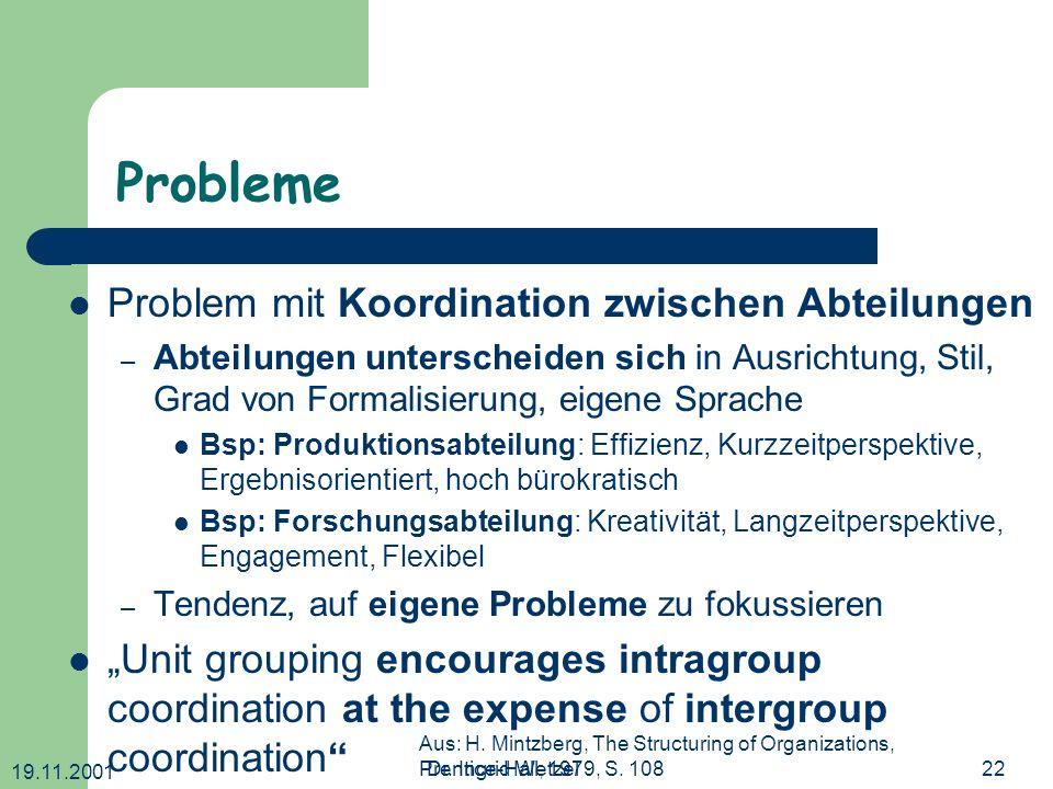 Probleme Problem mit Koordination zwischen Abteilungen