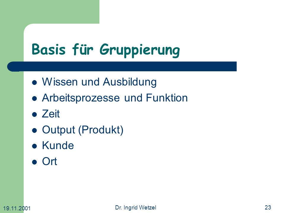 Basis für Gruppierung Wissen und Ausbildung