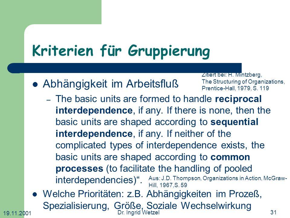 Kriterien für Gruppierung