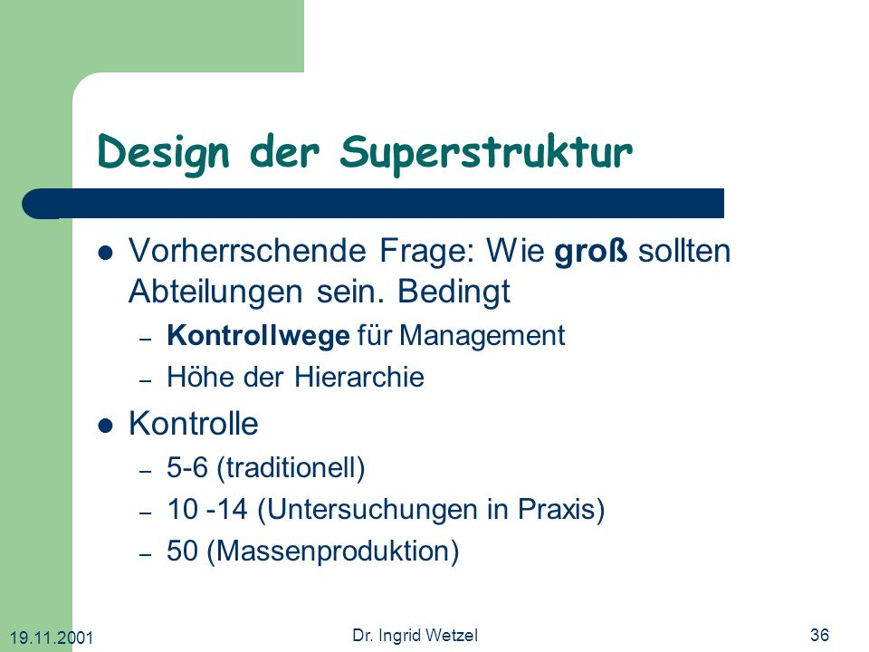 Design der Superstruktur
