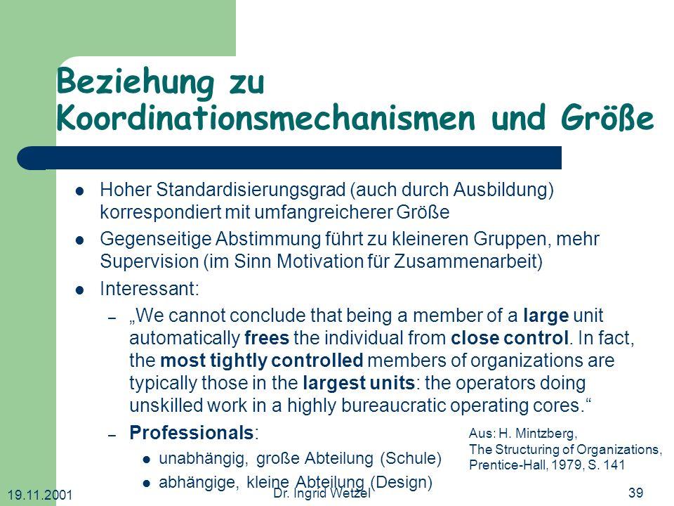 Beziehung zu Koordinationsmechanismen und Größe